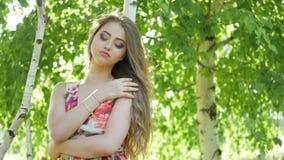 Beautiful girl model posing stock footage