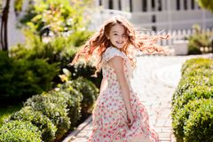 Beautiful young girl outdoors. royalty free stock photo