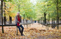 Beautiful young girl in a park on a fall day Stock Image