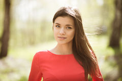 Beautiful young girl in park Royalty Free Stock Image