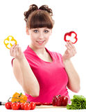 Beautiful young girl with pepper Royalty Free Stock Image