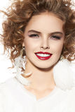 Beautiful young girl with perfect evening make-up pretty smile Fotografia Stock