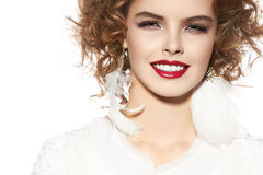 Beautiful young girl with perfect evening make-up pretty smile Fotografie Stock