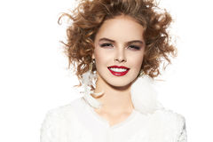 Beautiful young girl with perfect evening make-up pretty smile Royalty Free Stock Photography