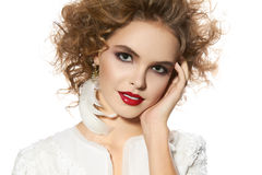 Beautiful young girl with perfect evening make-up pretty smile Royalty Free Stock Image