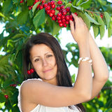 Beautiful young girl picking cherries. In summer morning Stock Photo