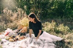 Beautiful young girl on a picnic on a summer day. concept of leisure, vacation, tourism outdoorsy royalty free stock photo