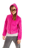 Beautiful young girl in pinky jacket with hood and Stock Photos