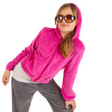 Beautiful young girl in pinky jacket with hood and Royalty Free Stock Photo