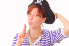 Beautiful young girl in the pirate hat Royalty Free Stock Image