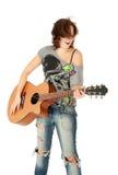 Beautiful Young Girl playing guitar Stock Photos