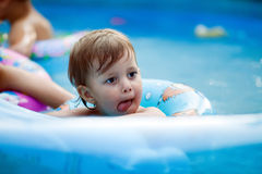 Beautiful young girl in pool Royalty Free Stock Images