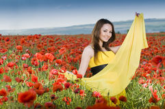 Beautiful young girl in the poppy field Stock Photos