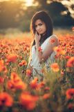 Woman on poppy field. Beautiful young girl on poppy field with dress stock images