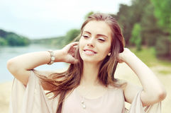 Beautiful young girl portrait outdoor Royalty Free Stock Images