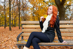 Beautiful young girl portrait sit on bench in park with yellow leaf in hand, fall season, redhead, long hair Stock Images