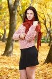 Beautiful young girl portrait in yellow city park, fall season Stock Photo