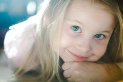 Beautiful young girl posing - Natural sun light used stock photography