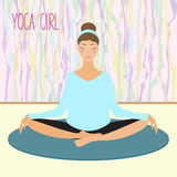 Beautiful young girl practicing yoga in the gym Stock Images