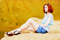 Beautiful young girl with red hair. Picture of a Beautiful young girl with red hair Stock Photo