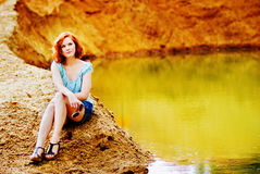 Beautiful young girl with red hair Royalty Free Stock Images