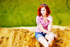 Beautiful young girl with red hair Royalty Free Stock Photos