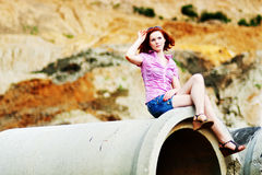 Beautiful young girl with red hair Royalty Free Stock Image