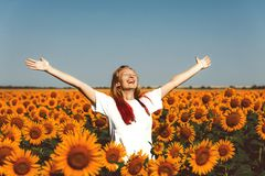 Young Women Standing In Sunflowers And Raising Hands Up. Freedom Lifestyle Outdoor Concept. Beautiful young girl with red hair standing in a field with royalty free stock photo