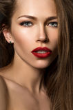 Beautiful young girl with red lips Royalty Free Stock Image