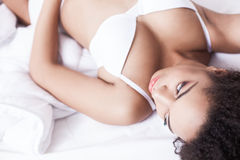 Beautiful young girl is resting at home Stock Photo