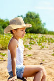 Beautiful young girl resting in park summer Stock Images
