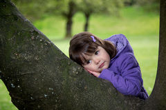 Beautiful Young Girl Resting on a Tree. Happy young girl deep in thought as she rests on a tree Stock Photography