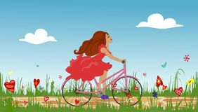 Beautiful young girl riding bike on spring flowering field. Cobbled path through blooming  meadow. Sunny summer composition. Vector illustration symbolizing Royalty Free Stock Photos