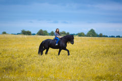 Beautiful young girl riding a horse in countryside Royalty Free Stock Images