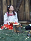 Beautiful young girl in romanian rustic clothes Stock Photography