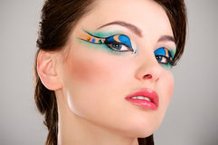 A beautiful young girl's face with makeup Stock Photo