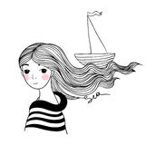 Beautiful young girl sailor with the ship in her hair. Stock Image
