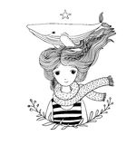 Beautiful young girl sailor with a whale in her hair. Sea animals. Hand drawing isolated objects on white background Stock Photos