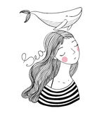 Beautiful young girl sailor with a whale. Royalty Free Stock Photography