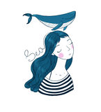 Beautiful young girl sailor with a whale. Royalty Free Stock Images