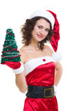 Beautiful young girl in Santa Claus clothes Royalty Free Stock Image