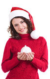 Beautiful young girl in Santa Claus clothes Royalty Free Stock Photography