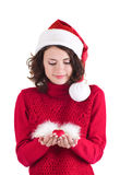 Beautiful young girl in Santa Claus clothes Stock Images