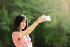 Beautiful young girl selfie outdoor Royalty Free Stock Photo