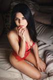 Beautiful young girl in a sexy red lingerie Stock Image