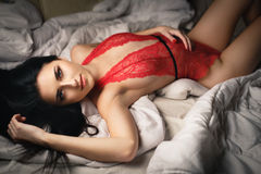Beautiful young girl in a sexy red lingerie Royalty Free Stock Photo