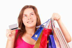 Beautiful young girl shopaholic Royalty Free Stock Image