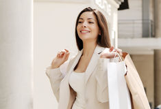 Beautiful young girl with a shopping Bag Royalty Free Stock Photos