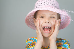 Beautiful young girl shouts Stock Photos