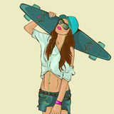The beautiful young girl with skateboard Royalty Free Stock Photography